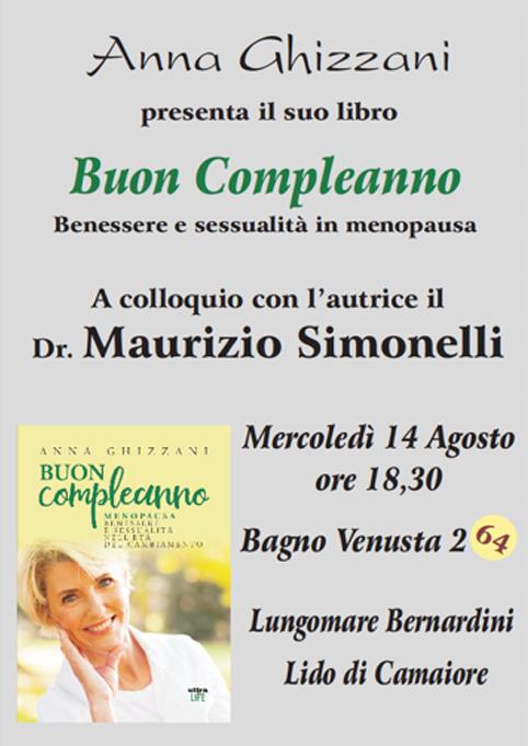 """Presentazione Lido di camaiore """"Buon Compleanno"""" ...menopausa, un libro di Anna Ghizzani"""