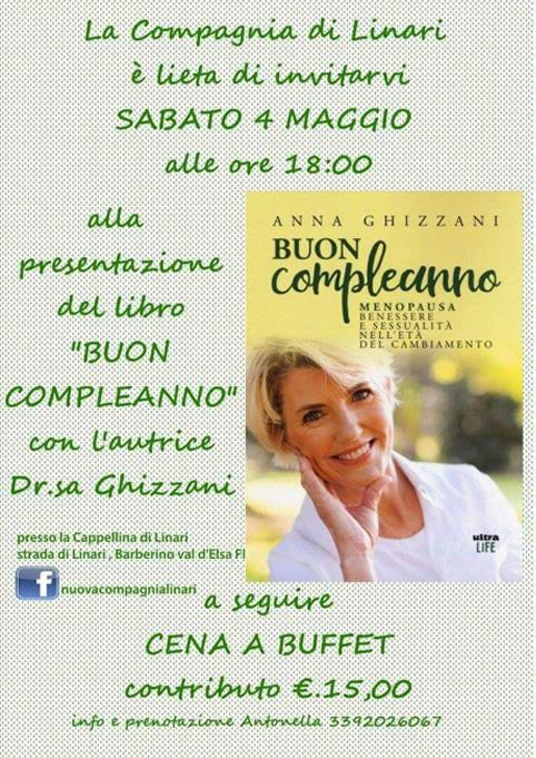"""Presentazione Linari, Barberino Tavarnelle """"Buon Compleanno"""" ...menopausa, un libro di Anna Ghizzani"""